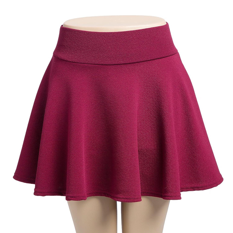 Women's Basic Solid Stretchy Flared Versatile Mini Skater Skirt