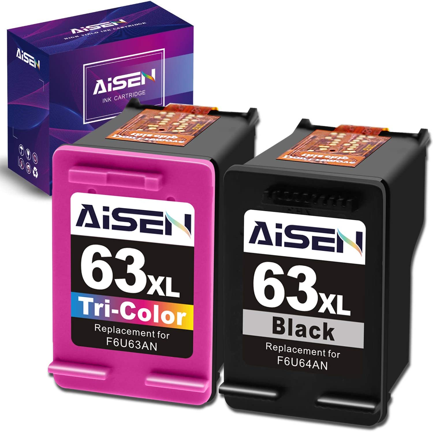 AISEN Remanufactured Ink Cartridge 63 Replacement for HP 63XL 63 XL Used in Officejet 3830 5255 5258 4650 5230 Envy 4520 4512 4513 DeskJet 1112 1110 3630 3632 2130 2132 (1 Black 1 Tri-Color)