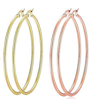 Amazon.com: Pendientes de aro chapados en oro rosa de 18 ...