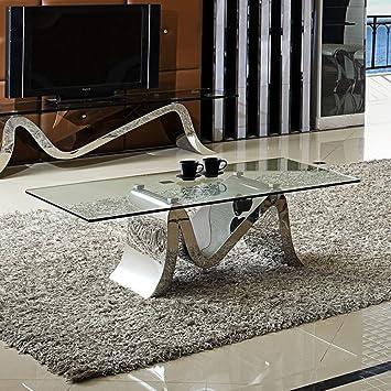 Couchtisch Wohnzimmertisch Luxus Martina 130 X 70 44 Cm Glas Barock Stil Tisch Chrom Edelstahl
