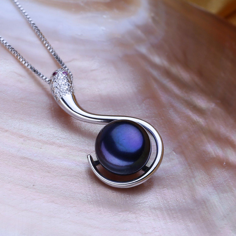 CS-DB Pendants Pearl Black Snake Silver Necklaces