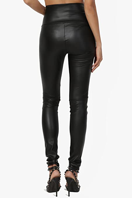 716d57cf162c9 TheMogan Faux Leather Zip Ankle Skinny Pants Biker Liquid Wet Shiny Look  Trouser at Amazon Women's Clothing store:
