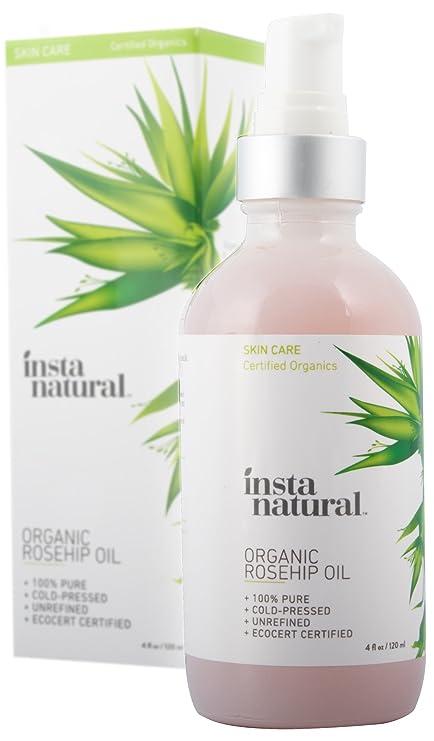 Aceite de Semillas de Rosa Mosqueta InstaNatural - Hidratante Orgánico Unisex Prensado en Frío para la Piel, Cara y Cuerpo - Para Cicatrices, Estrías, ...