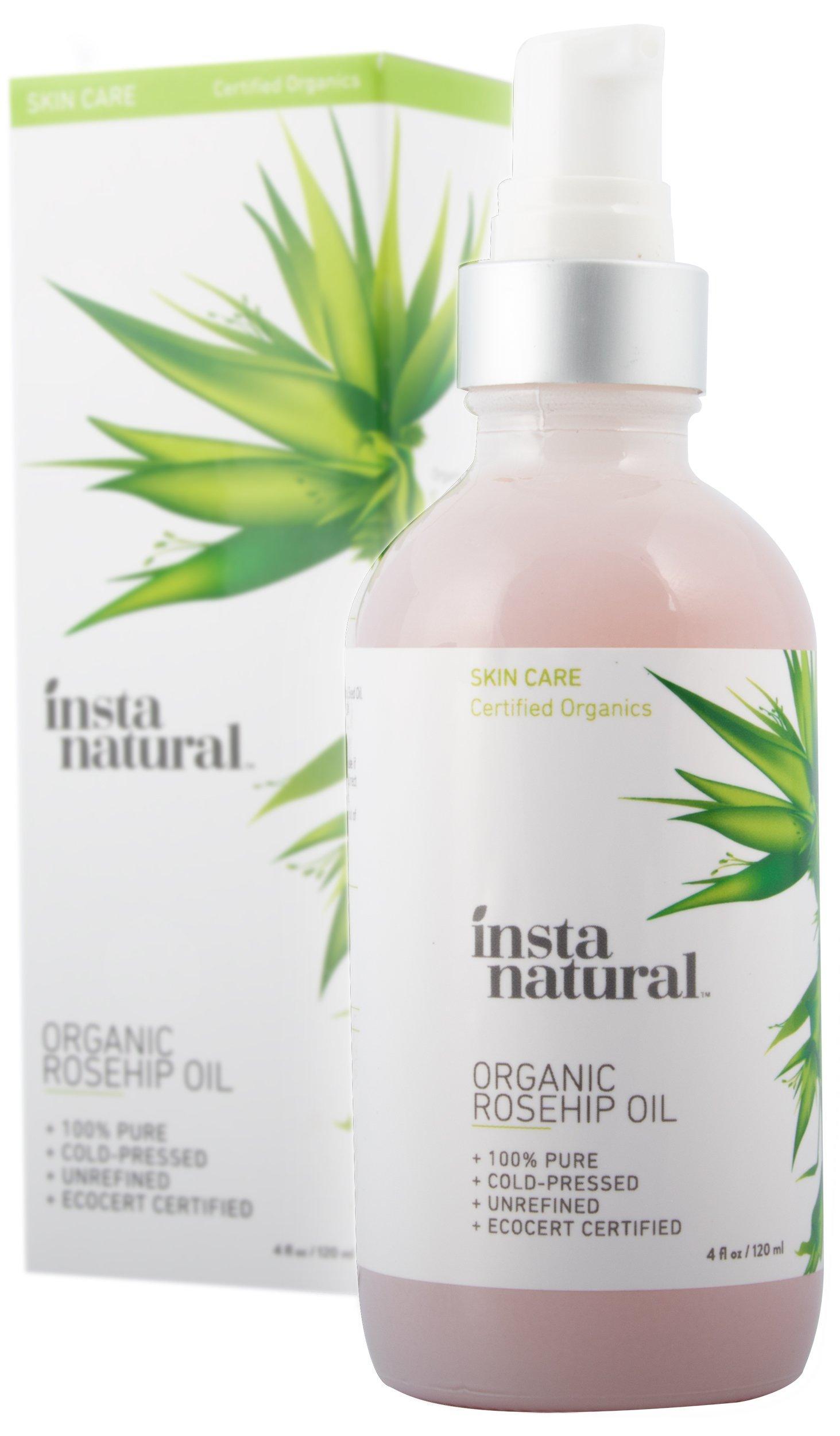 Aceite de Semillas de Rosa Mosqueta InstaNatural - Hidratante Orgánico Unisex Prensado en Frío para la