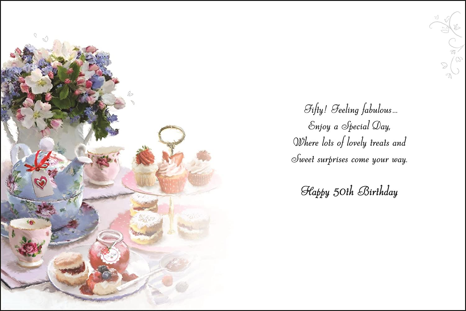 Greeting Card Jj4047 Female 50th Birthday Afternoon Tea And