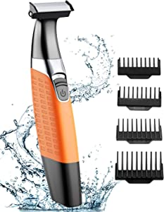 Bcway Electric Razor for Men, Professional Beard Trimmer, USB Rechargeable Shavers for Men, Wet & Dry Electric Shaver with 4 Guide Combs, Cordless Nose & Ear & Mustache & Body Trimmer for Detailing