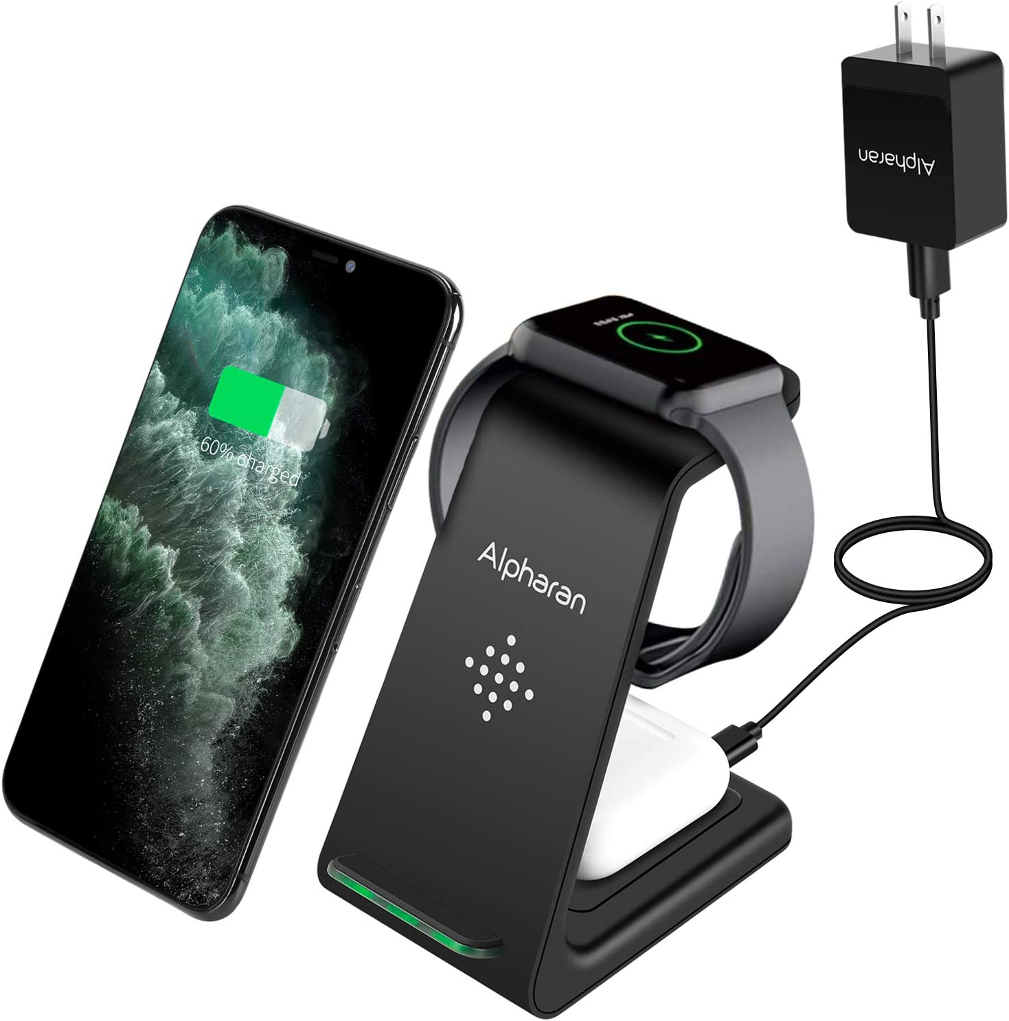 Wireless Charger,3 in 1 Wireless Charging Station,Qi Fast Charging Stand Dock for Apple Watch Series,AirPods,iPhone 11 Pro Max X XR XS 8 Plus with QC 3.0 Adapter by Alpharan (Black)