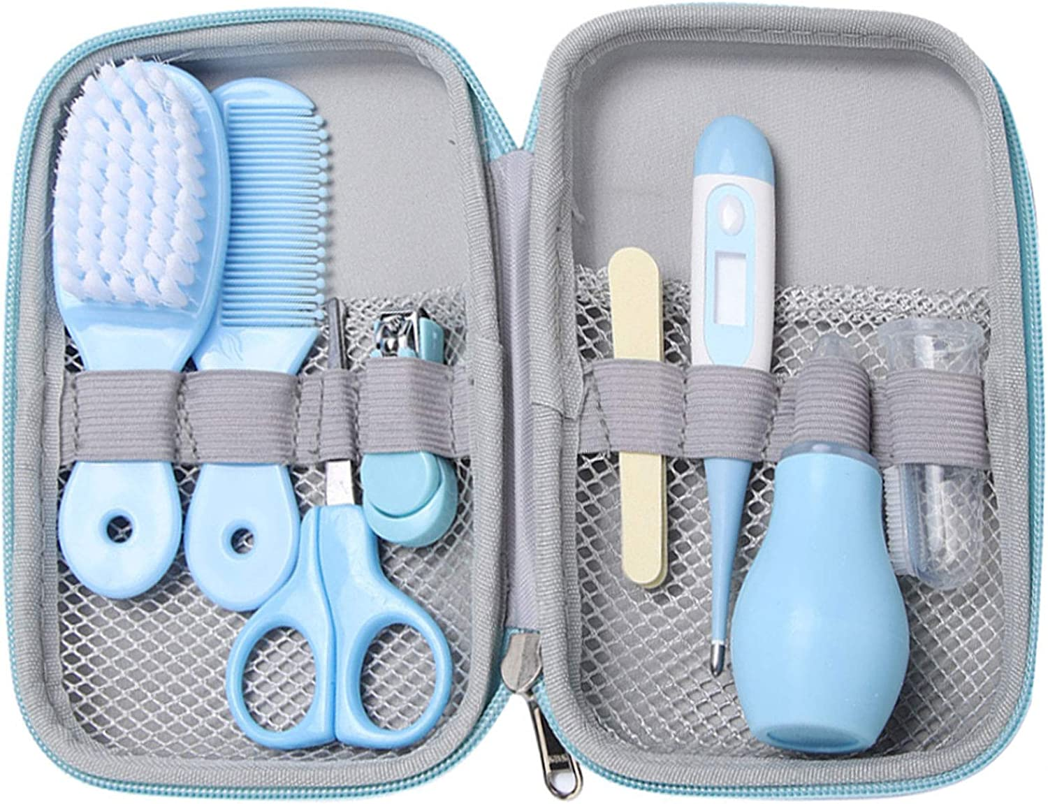 8pcs Baby Daily Care Kit, Convenient Baby Healthcare and Grooming Kit, Including Nail Scissors Nail Clipper Hair Brush Comb Nose Cleaner Finger Toothbrush Manicure Care Kit