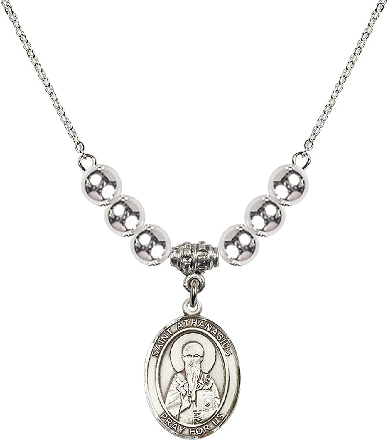 Bonyak Jewelry 18 Inch Rhodium Plated Necklace w// 6mm Sterling Silver Beads and Saint Athanasius Charm