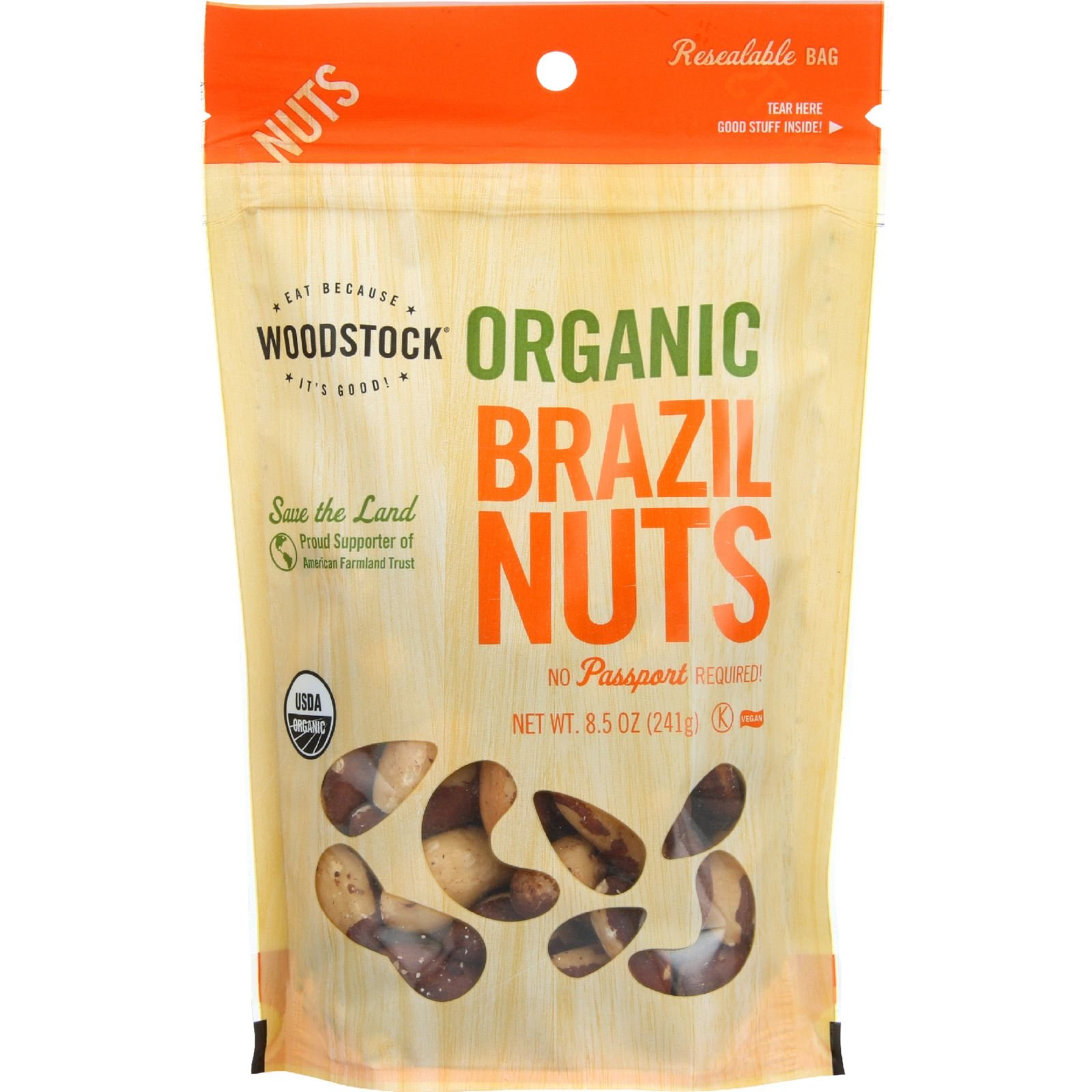 Woodstock Nuts - Organic Brazil Nuts - 8.5 oz - case of 8 - Vegan - Nutrient rich - No Sodium