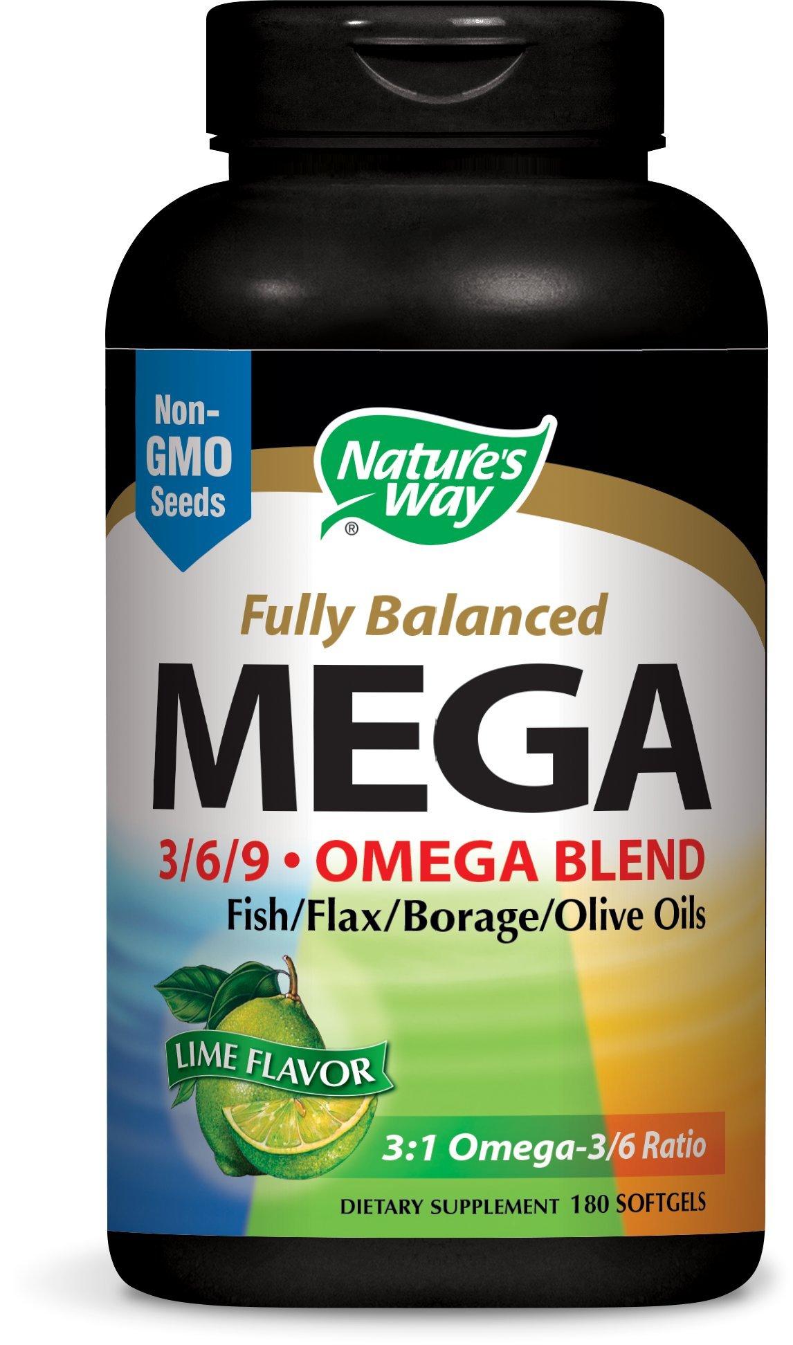 Nature's Way Mega 3/6/9 Blend, Lime Flavor, 180 Softgels