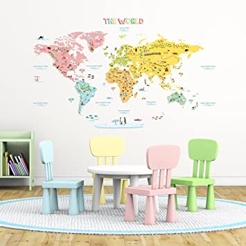 Amazon decowall dlt 1616n colourful world map kids wall decowall dlt 1616n colourful world map kids wall decals wall stickers peel and stick removable gumiabroncs Choice Image