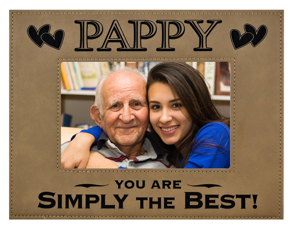 Amazon pappy gift pappy you are simply the best engraved engraved leatherette picture frame fathers day gift grandfather dad birthday pops christmas gift daughter son grandchild best pappy ever 4x6 beige jeuxipadfo Images
