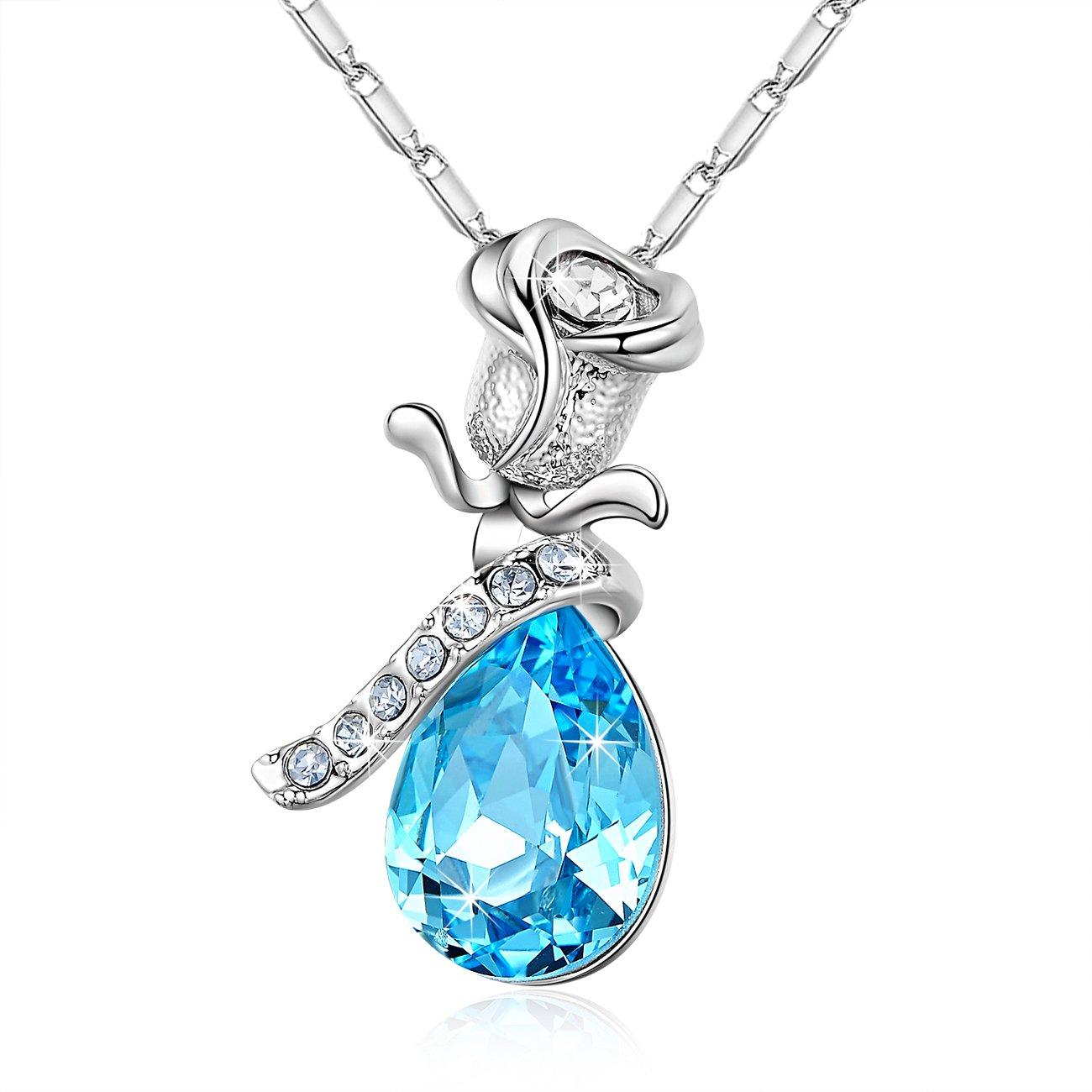 Pear-Shaped Crystal Necklace NinaMaid Love's Rose Teardrop Pendant Gift Ideas 18 Inch Blue