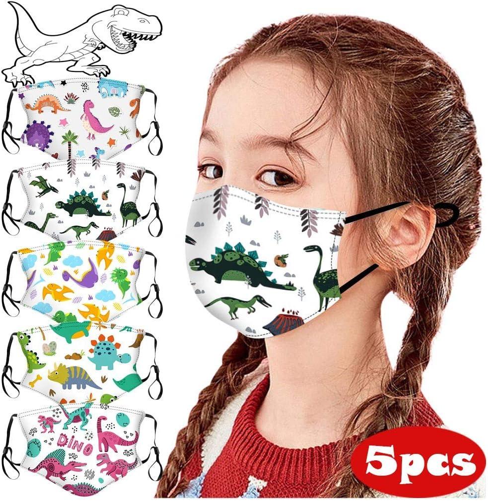 BINGGUO Bambino 5 Pezzi Tessuto Bocca Viso Visiera in Cotone Blend Stampa Simpatico Cartone Animato Dinosauro Lavabili Riutilizzabili Visiera Viso per Ragazza