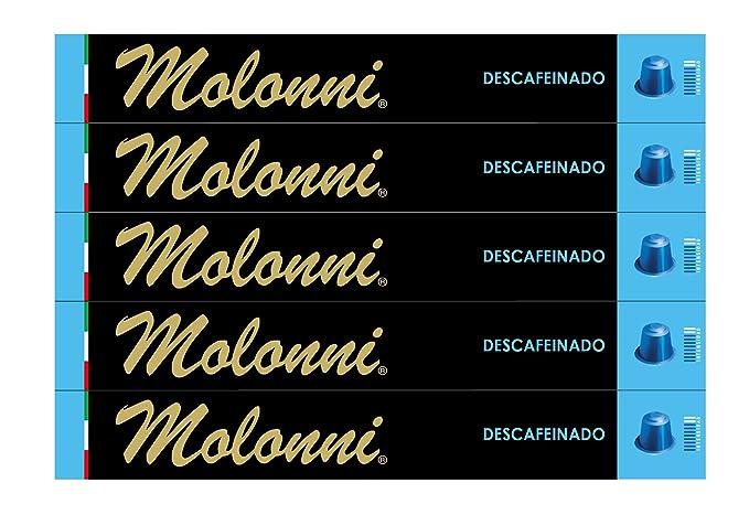 Molonni - Cápsulas de café - Descafeinado - Compatible con Nespresso - 50 cápsulas