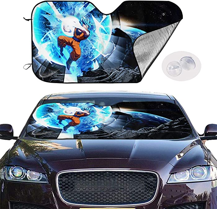 Car Windshield Sun Shade Blocks UV Rays Sun Visor Protector - Goku Dragon Ball Fighterz Sunshade to Keep Your Vehicle Cool
