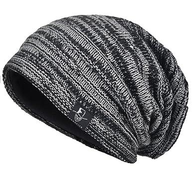 deba014d0cd VECRY Mens Slouchy Knit Oversized Beanie Skull Caps Artistic Hats (Black)
