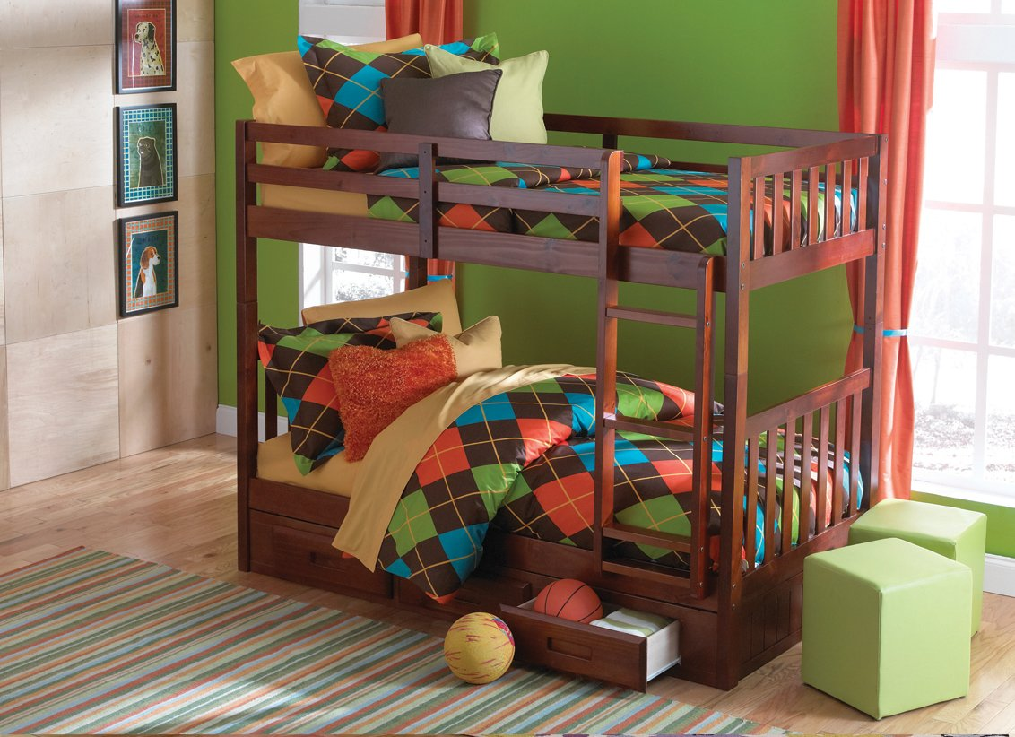 Mission Twin Over Twin Bunk Bed with Trundle, Desk, Hutch, Chair and 5 Drawer Chest in Merlot Finish