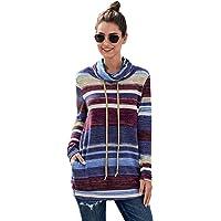 UbdehL Women's Long Sleeve Striped Sweatshirt Casual T Shirt Blouse Pullover Tops