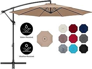 Best Choice Products 10ft Offset Hanging Outdoor Market Patio Umbrella w/Easy Tilt Adjustment - Tan