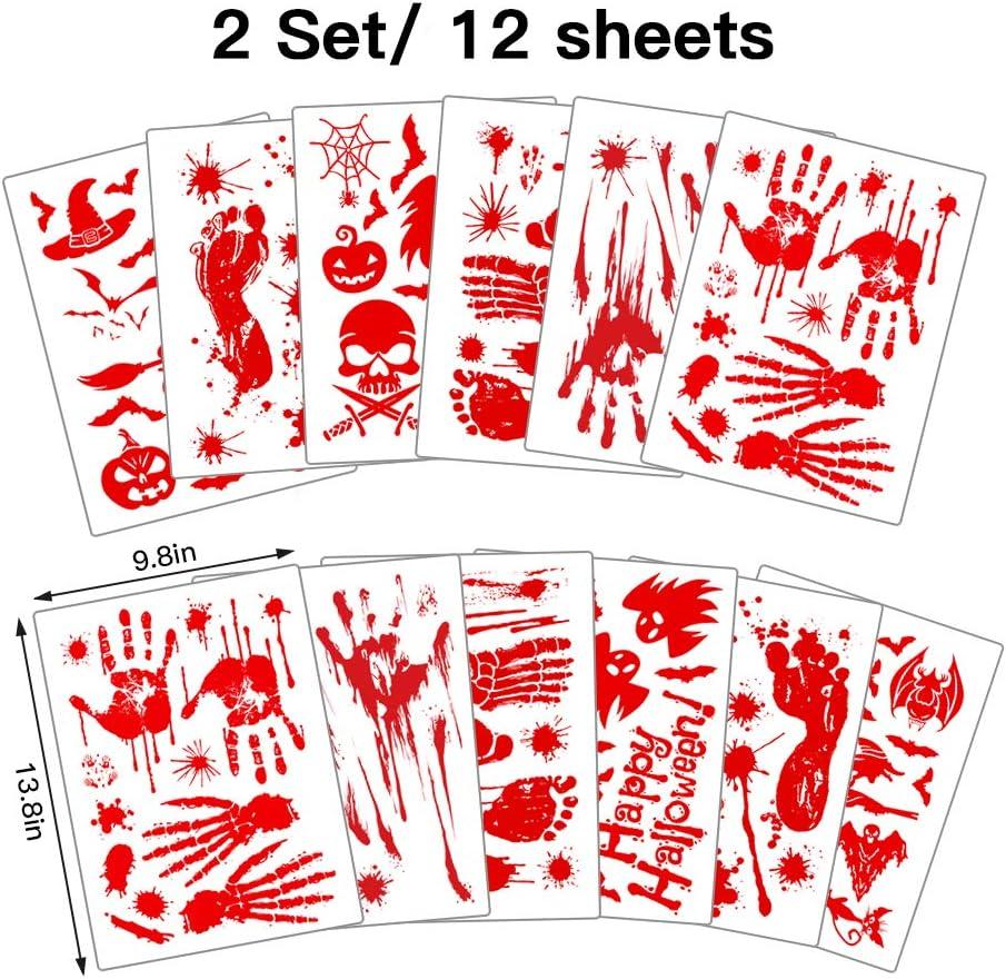 ASZKJ 12 Bl/ätter Halloween Sticker Aufkleber Wirkende Schaurig Blutige Sticker Deko Handabdr/ücke Fu/ßabdr/ücke Fensteraufkleber f/ür Halloween Karneval Party Dekorations