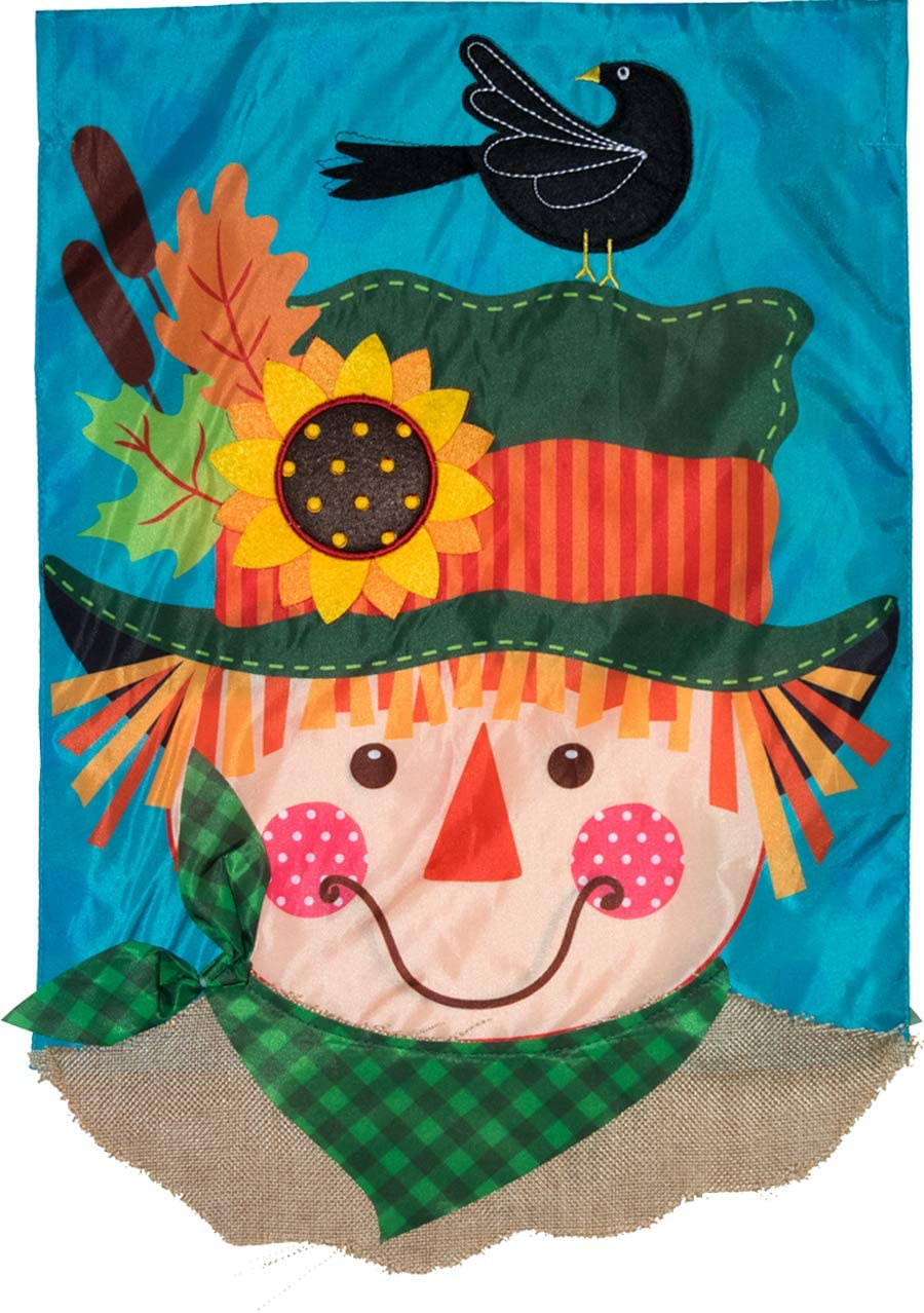 "Briarwood Lane Harvest Scarecrow Fall Applique Garden Flag Double Sided 12.5"" x 18"""