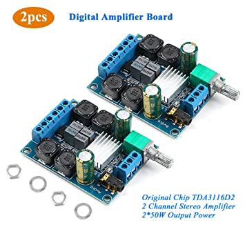 2Pcs Digital Amplifier Board, TPA3116D2 Dual Channel Audio Stereo AMP High  Power Digital Subwoofer Power Amplifier Board 2x50W 5V 12V 24V for Store