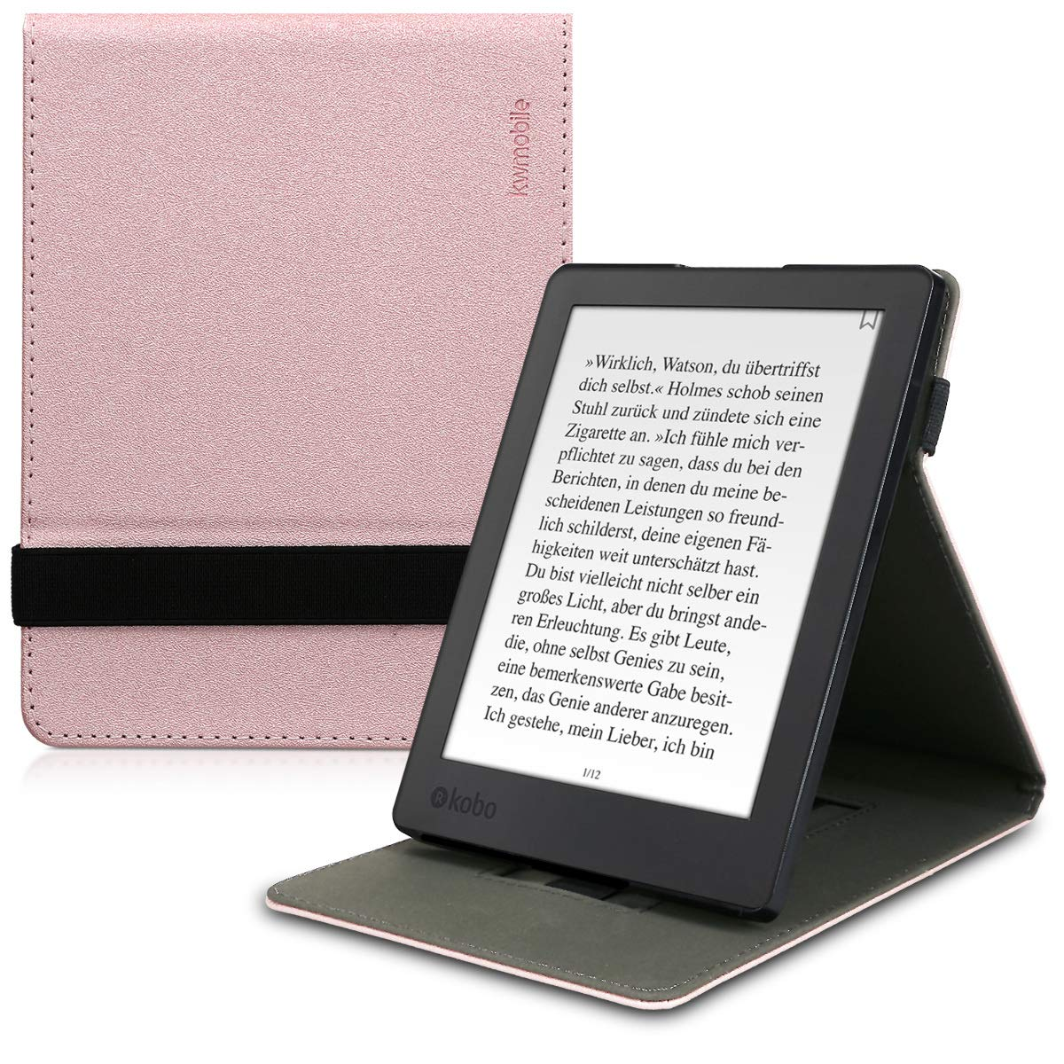 kwmobile Cover for Kobo Aura H2O Edition 2 - PU Leather e-Reader Case with Built-in Hand Strap and Stand - Rose Gold KW-Commerce 45099.81_m001187