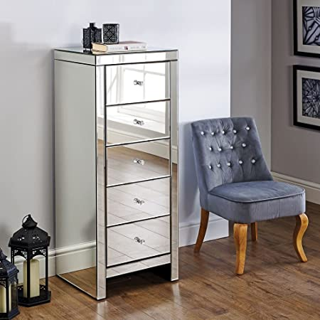 image great mirrored bedroom furniture. Happy Beds Mirrored Bedroom Furniture, Seville Silver Narrow 5 Drawer Chest - Height 123 Cm Image Great Furniture I