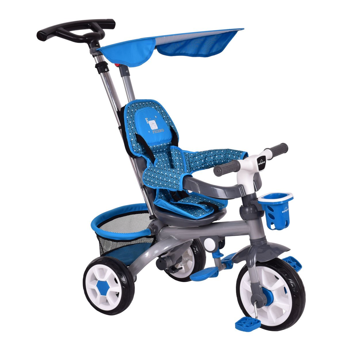 Kids Stroller Tricycle Detachable Learning Toy Bike with Canopy Basket 4-in-1
