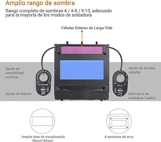 Careta Soldar Automatica, Tacklife PAH04D Casco de Soldadura 1/1/1 ...