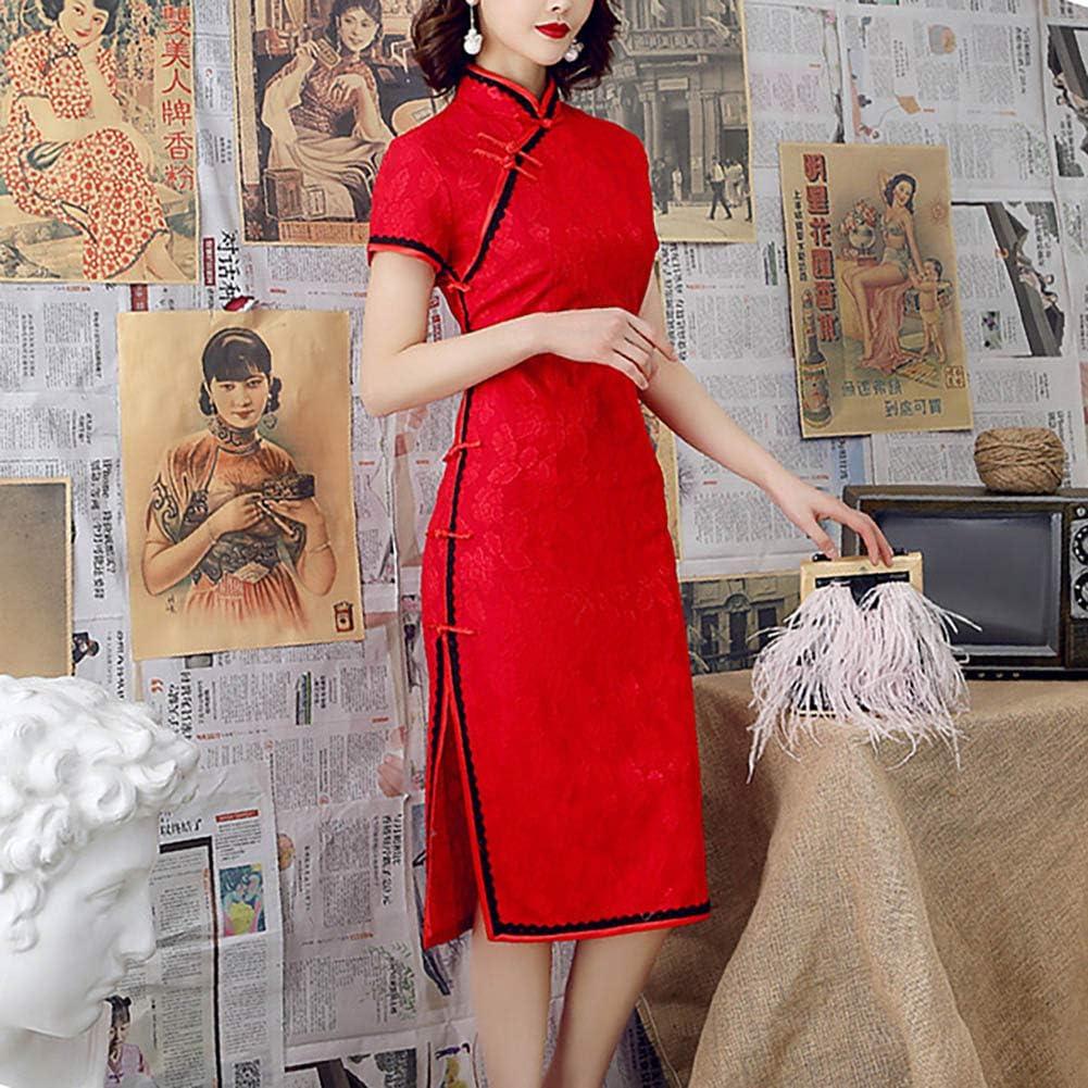 Chinese style Retro Women Slim 3//4 Sleeve Floral Print Qipao Cheongsam Dress Fr