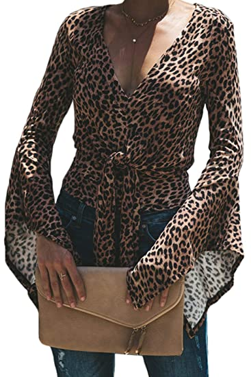 bd14112630c9 Women Leopard Print Tops Bell Sleeve Deep V Neck Blouses Top at Amazon  Women's Clothing store: