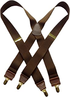 product image for Holdup Suspender Company Casual Series Java Brown X-back Suspenders with Patented No-slip Gold-tone Clips