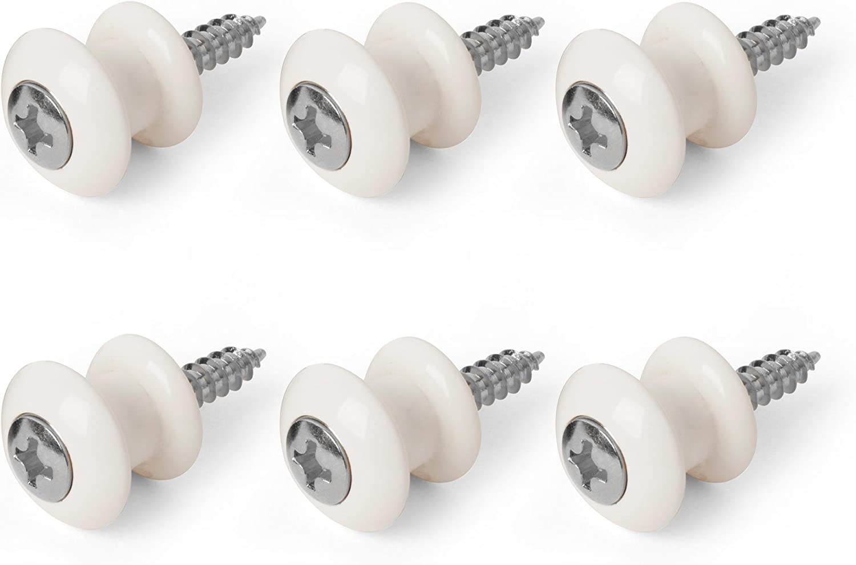 chrome screw Waverly Guitar Strap Button White button