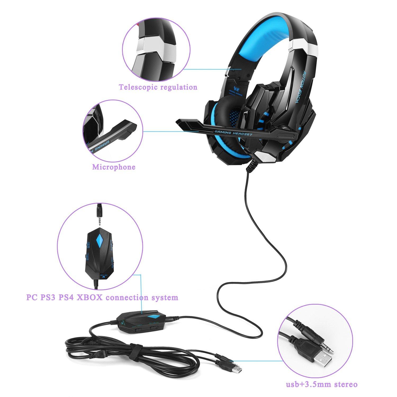 KOTION EACH GS900 Cascos gaming Auriculares Gaming Juego estéreo Pro PC Gaming Headset Auriculares estereo con microfono para Xbox 360 / PS3 / PS4 / PC ...