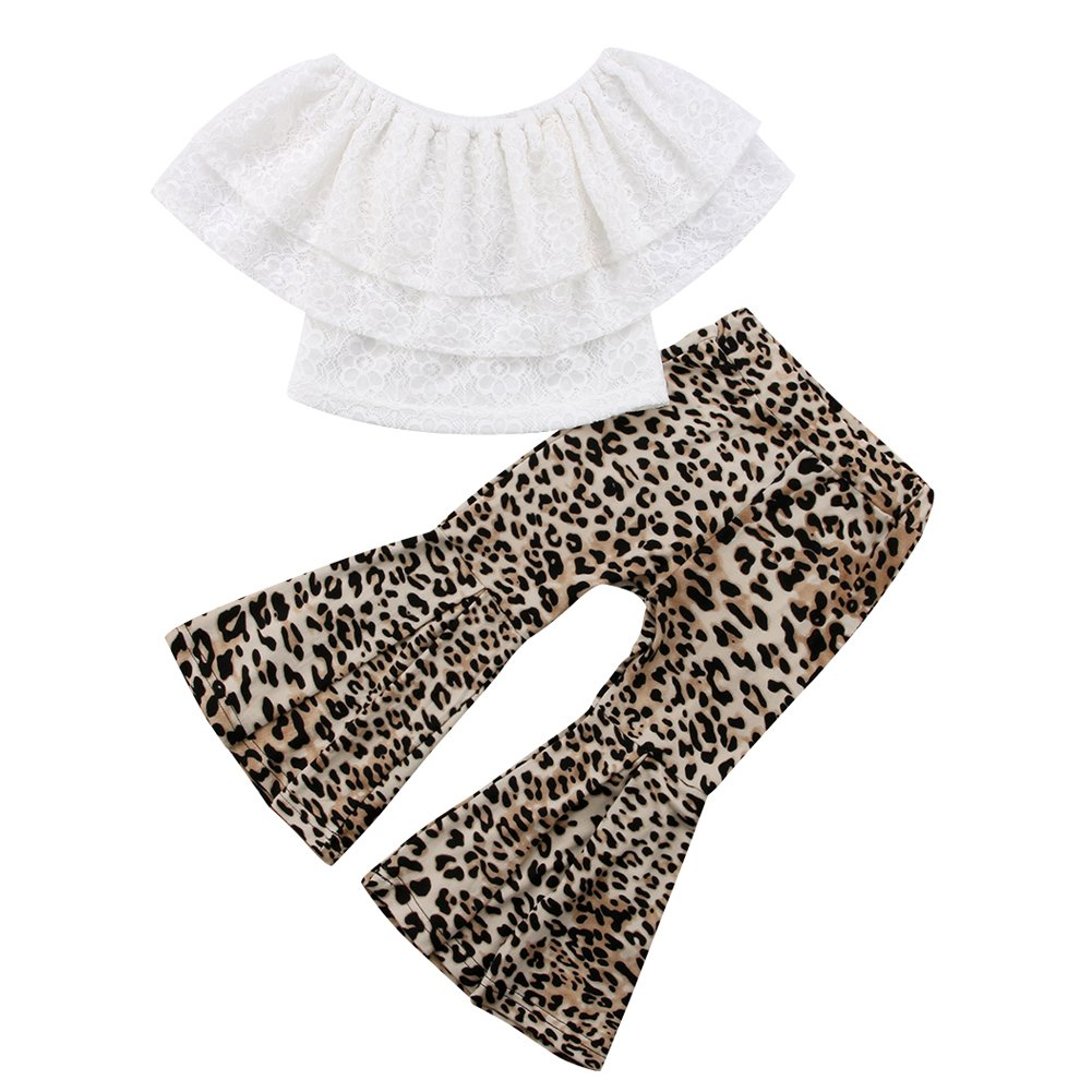 d224df9fc2b97 Amazon.com: Little Girls Lace Layered Off-Shoulder Tube Top Leopard Flare  Bell Pants Outfit Set: Clothing