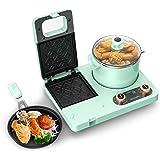 GIVENEU 4-in-1 Household Multifunctional Breakfast Maker Machine, Family Breakfast Center Station with Sandwich Maker, Frying