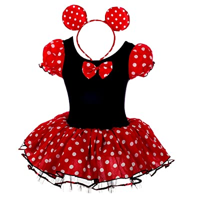 Dressy Daisy Girls' Polka Dots Halloween Christmas Fancy Dress Dance Costume w/Headband: Clothing