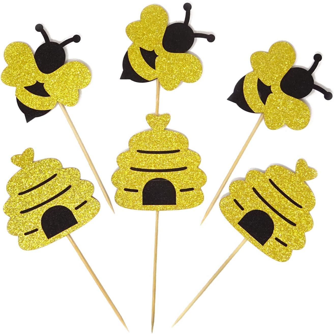 Honbay 40PCS Glitter Bumble Bee Honeycomb Cupcake Toppers Cake Decorations Food Picks for Bee Themed Parties, Baby Gender Reveal Parties, Baby Showers, Weddings, Birthdays, etc