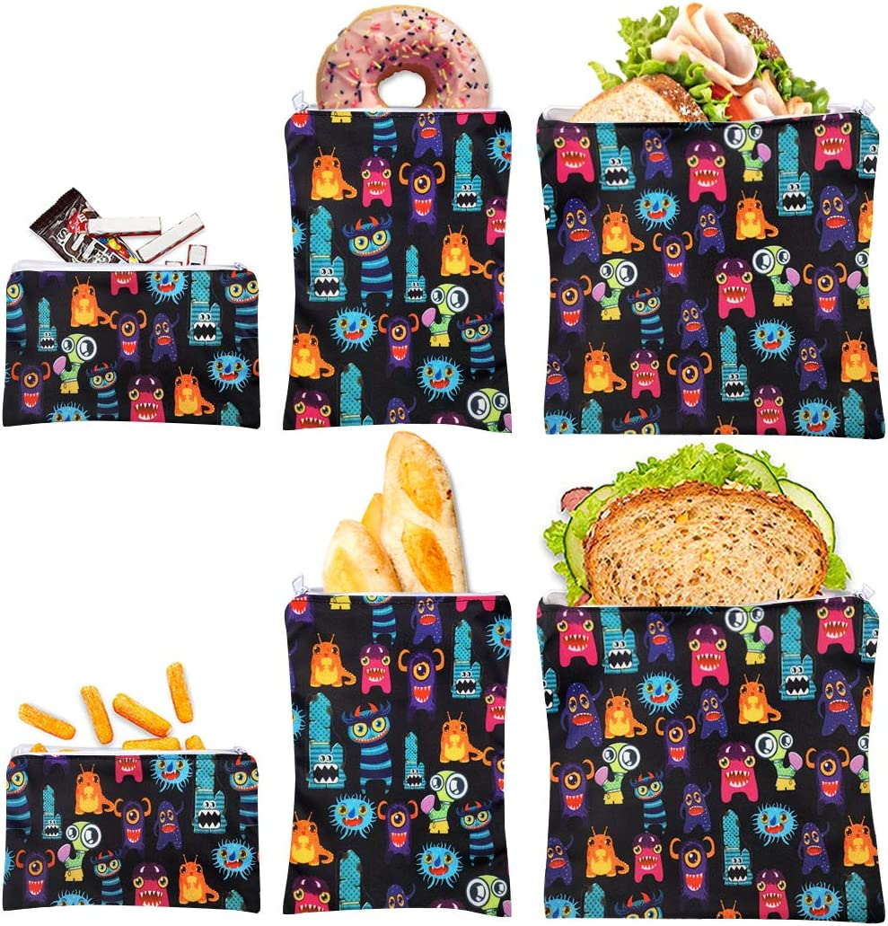 Reusable Sandwich Bag Snack Bags - Value Pack of 6 Dual Layer Lunch Baggies - Dishwasher Safe - Eco Friendly Cloth Wraps - Easy Open Zipper For Kids (Little cute)