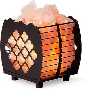 Himalayan Pink Salt Lamp Basket & Dimmer Cord Bulb
