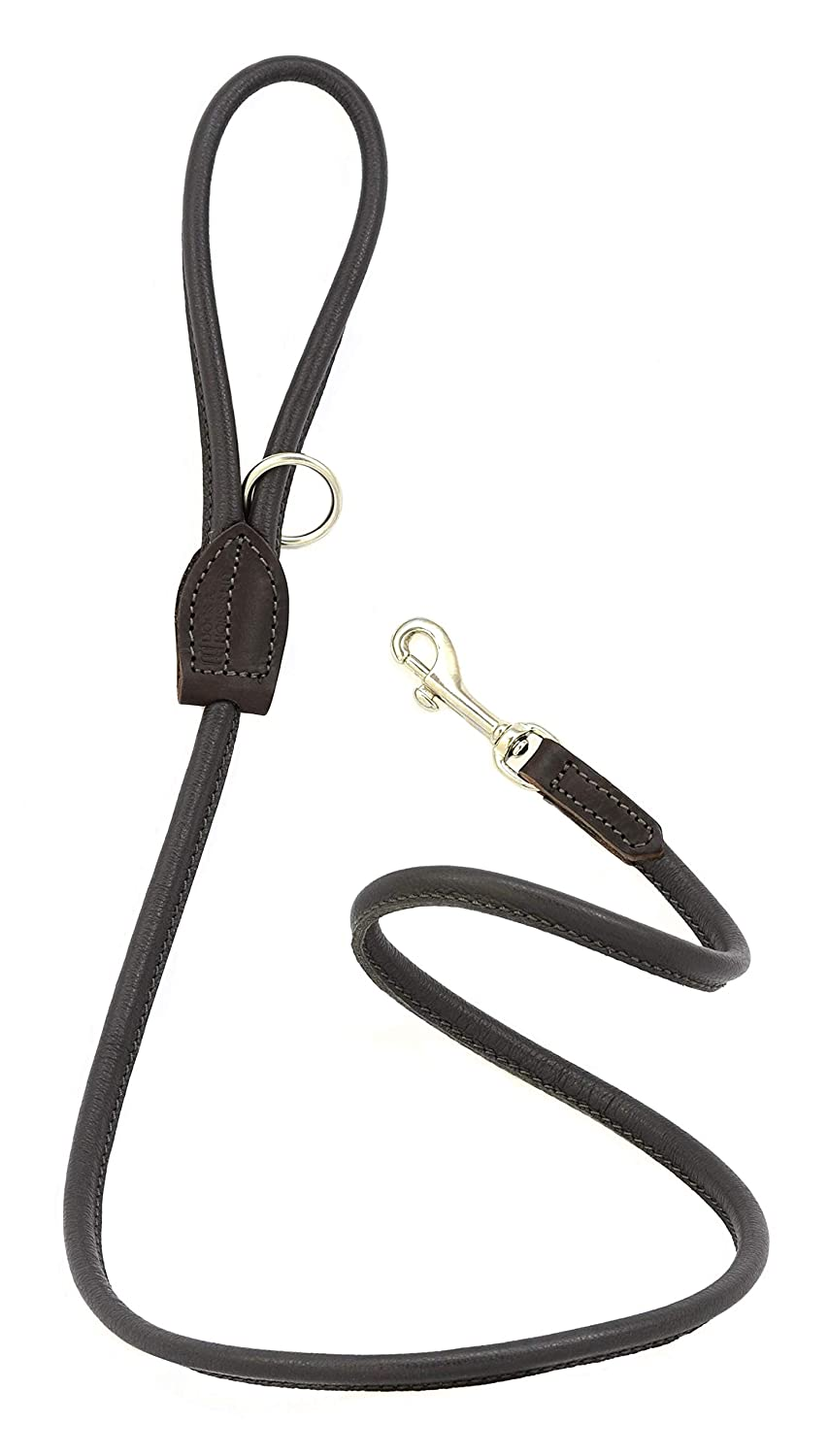 Brown and Silver Dogs & Horses Rolled Leather Dog Lead (Brown and Silver)