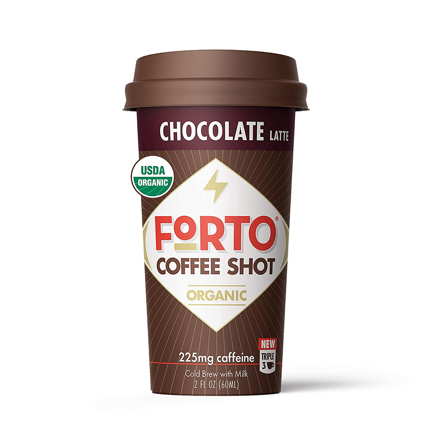 FORTO Coffee Shots - Chocolate Latte, Ready-to-Drink on the go, High Energy Cold Brew Coffee - Fast Coffee Energy Boost, 2 Fl Oz, Pack of 6: Grocery & Gourmet Food