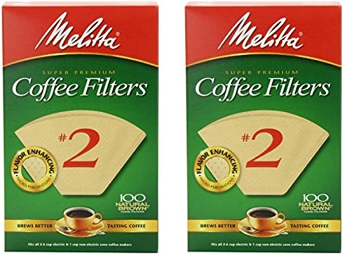 Melitta Cone Coffee Filter Number 2, Natural Brown, 100 Count