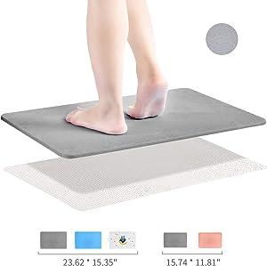 Diatomaceous Earth Bath Mat, DZY Nonslip Absorbent Bath Mat - Fast Drying Hard Bathroom Floor Shower Mats with Additional Anti-slip Mat, Sandpaper, 23.62 x 15.35 inch, Grey