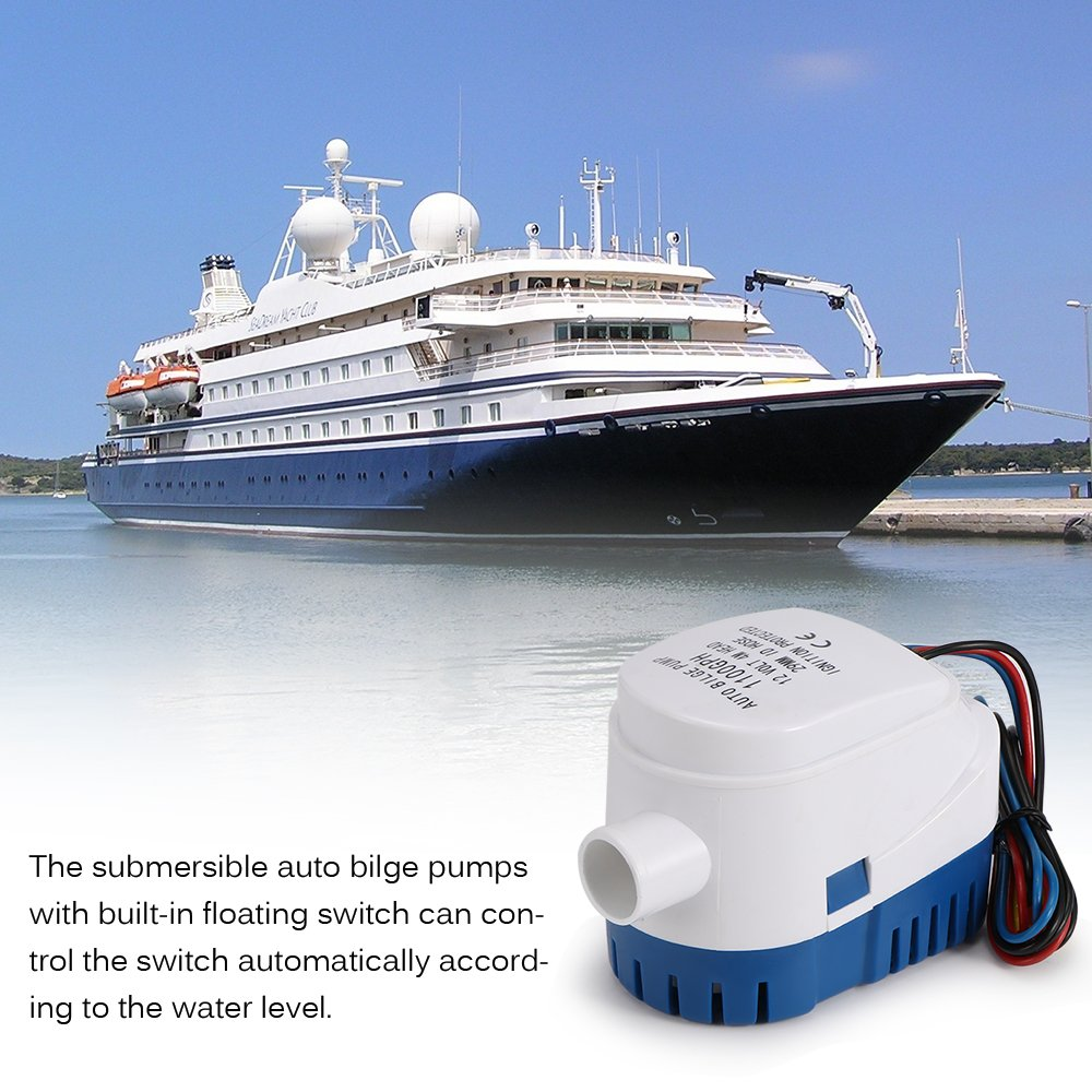 Pompa di Sentina Automatica da 12 V con Interruttore Galleggiante Incorporato Pompa di Sentina Sommergibile Marina SmartHitech Pompa Acqua di Sentina per Barche 2 cm-Uscita