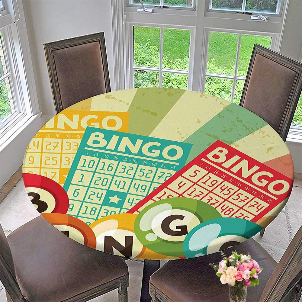 Round Polyester Tablecloth Table Cover Bingo Game with Ball and Cards Pop Art Stylized Lottery Hobby Celebration Theme for Most Home Decor 67''-71'' Round (Elastic Edge) by Mikihome