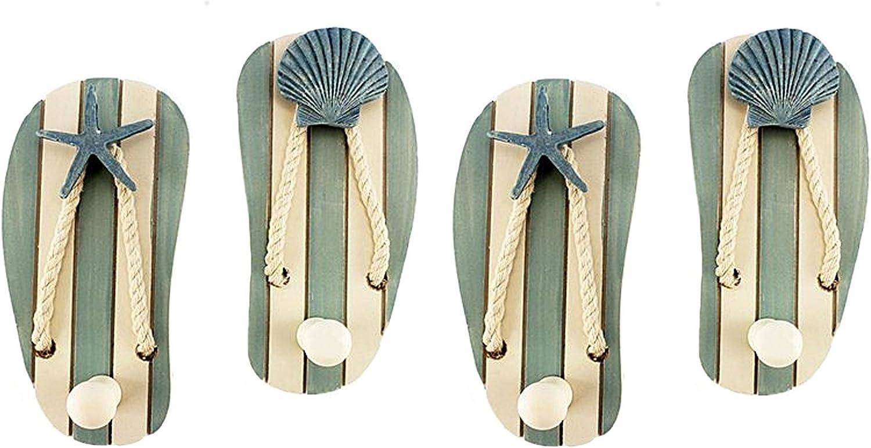 Beach Decor Wood Sandal Wall Hooks, Set of 4